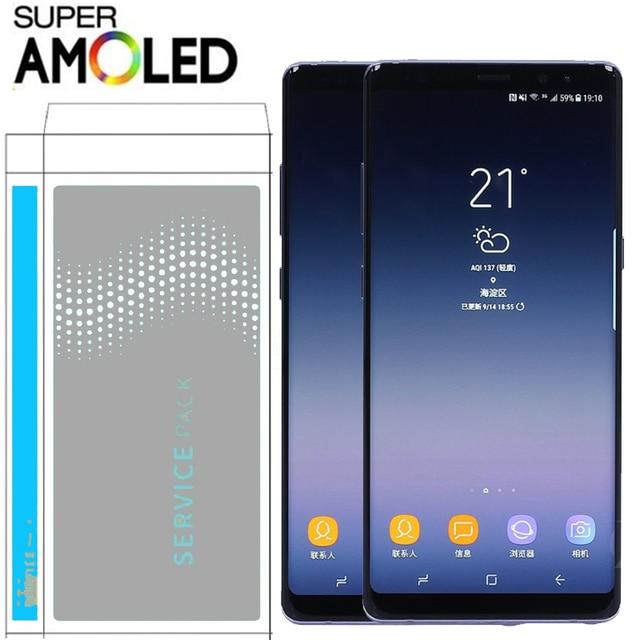 6.3 ''عرض مع حرق الظل شبح صورة LCD مع الإطار لسامسونج ملاحظة 8 N9500 N950F N900D N900DS محول الأرقام بشاشة تعمل بلمس