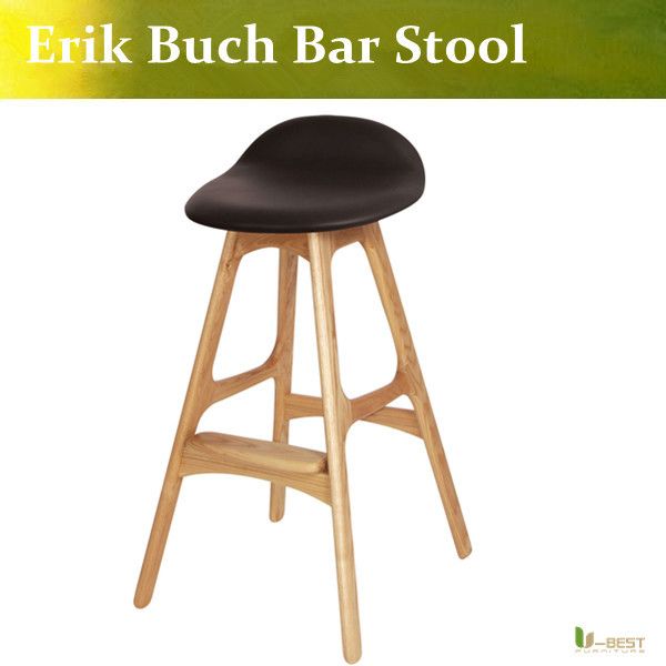 Free shipping U-BEST high quality Erik Buch Bar Stool solid wood barstool,oak natural upholstery with PU ,designer barstools well known brand leozoe pure castor oil certificate origin us authentication high quality castor essential oil 30ml100ml