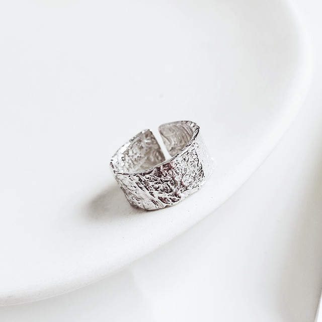 Korean 925 Sterling Silver Large Rings For Women Engagement Jewelry Personality Exaggerated Girls Open Antique Finger Rings