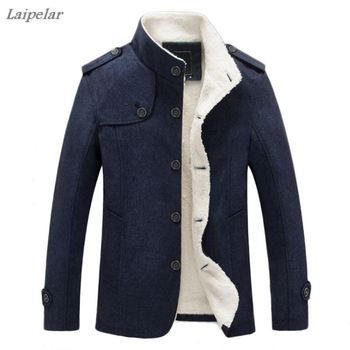 winter cotton men's jacket men's jacket warm jacket leisure stand collar Plus velvet coat Solid color Laipelar