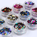 1 Box 6 Colors Ultrathin Laser Nail Art Glitter Sequins UV Gel Colorful Shiny Round Nail Decoration DIY Tips Paillettes Hologram