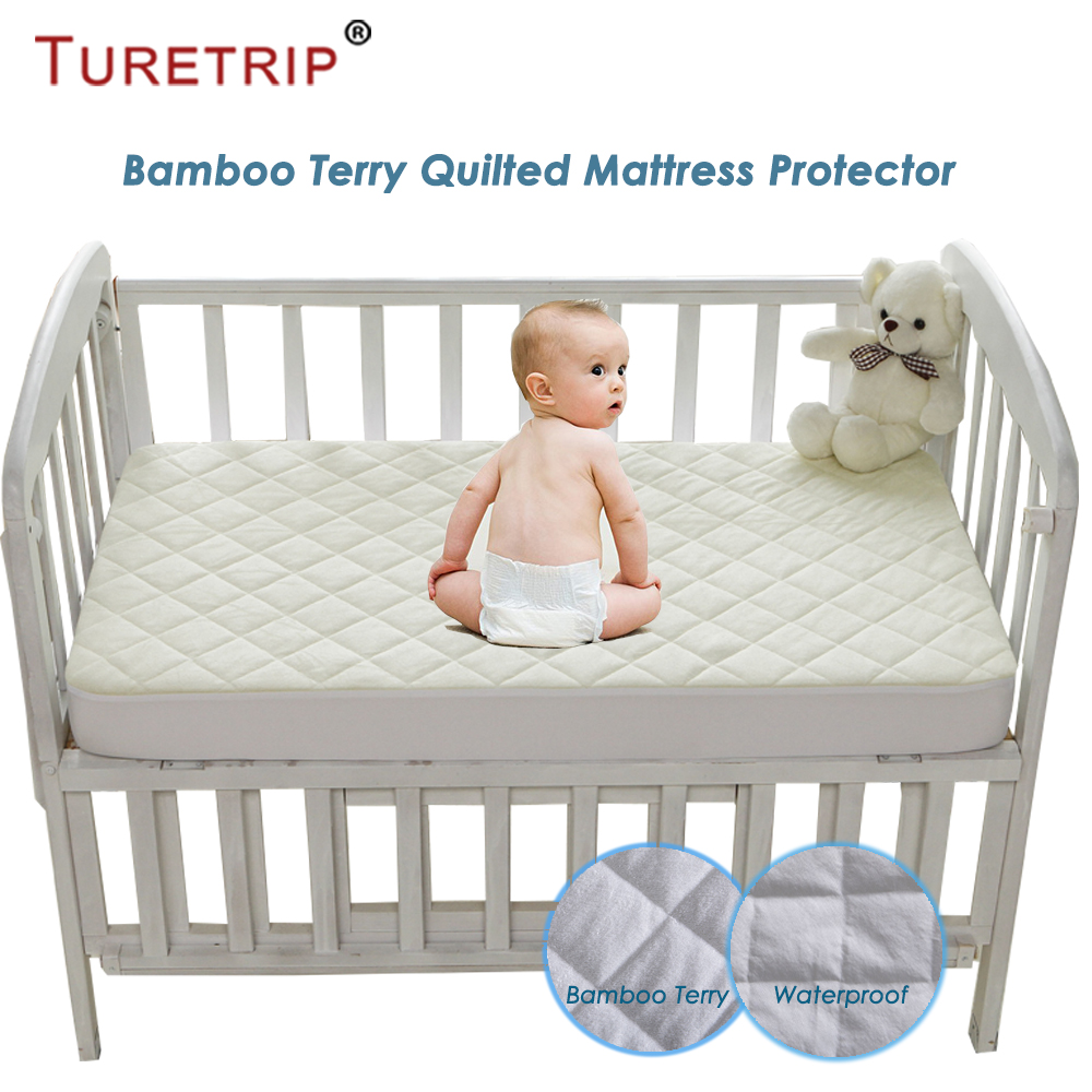 buy popular c73b9 d6e71 US $30.99 |Turetrip 72X132CM Bamboo Terry Waterproof Mattress Cover For  Baby Toddler Bed Protector Mattress Pad Crib Waterproof Bed Sheet-in  Mattress ...