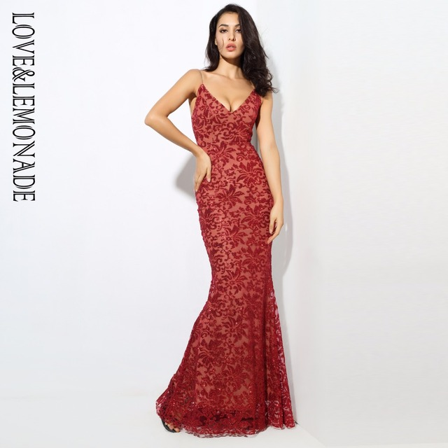1d7010b6c274 Deep V Neck Open Back Flower Ribs Long Dresses Red Silver Gold Navy LM0301