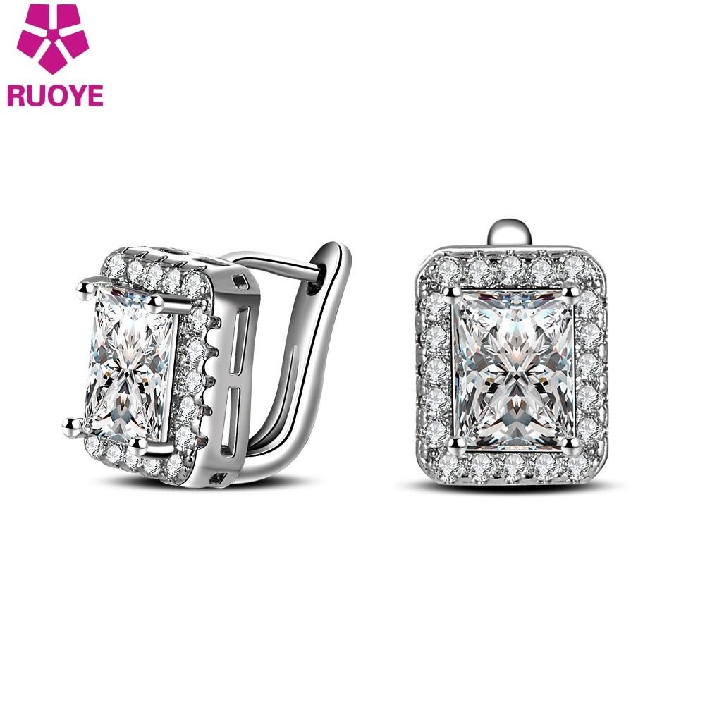 RUOYE Fashion Women Stud Earring Luxury AAA Zircon Earring Square - Bisutería