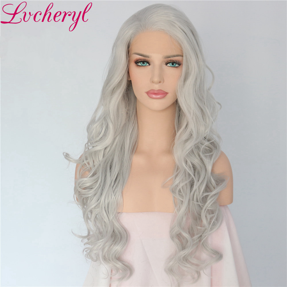 Lvcheryl Hand tied Natural Long White Silver Grey Color Body Wave Heat Resistant Hair Synthetic Lace Front Wigs for Women