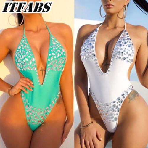 Mujeres Calientes Sexy Lentejuelas Bikini Crystal Vendaje Push Up Traje De Bano De Una Pieza Beachwear Tankini Monokini En Trajes De Cuerpo De Deportes Y