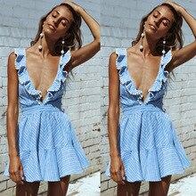Women sexy Ruffles dresses Boho Striped dress V Neck Sleeveless high Waist lace Up Backless beach Vestidos A490129
