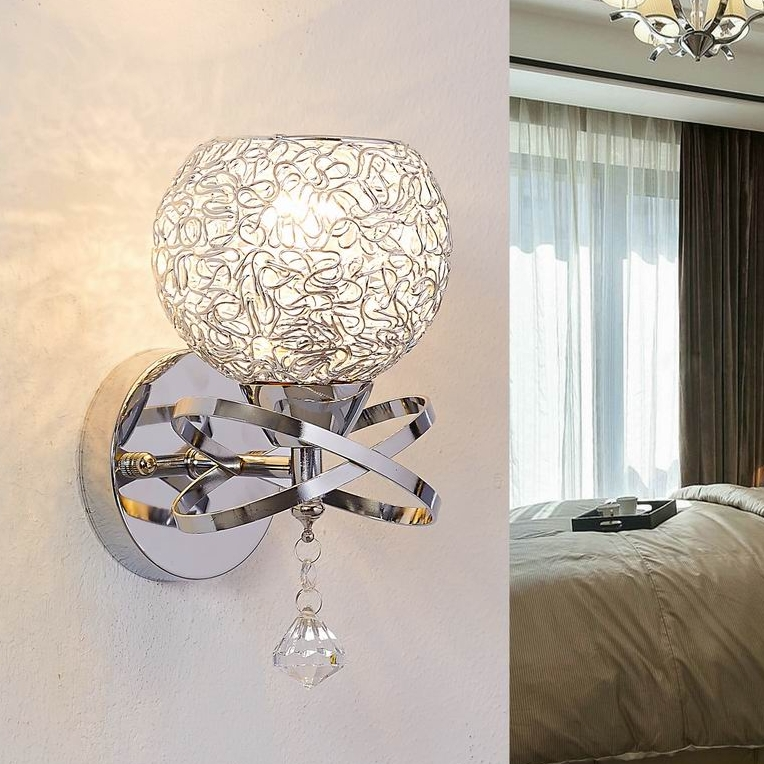 modern style wall lamps bedside lamp bedroom stair lamp crystal wall lights e27 led single gold silver color indoor lighting - Wall Light Fixtures For Bedroom