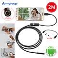 7 мм 2 М USB Эндоскоп Android Водонепроницаемый 6 LED Телефон Android Бороскоп Эндоскопа Endoscopio Мини Кабель Инспекции Змея Камеры