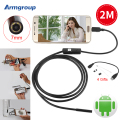 7mm 2M USB Endoscope Android Waterproof 6 LED Phone Endoscope Android Borescope Endoscopio Mini Cable Inspection Snake Camera