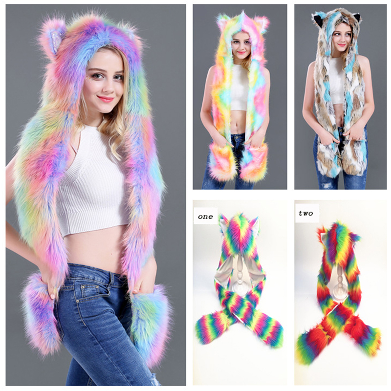 New Autumn And Winter Colorful Unicorn Faux Fur Women Hat Fur Cap Cartoon Animal Types Hats Scarf Gloves One For Women Hc65 Exquisite Traditional Embroidery Art