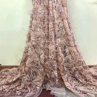 African Embroidered Sequin Lace Fabric 2018 Latest Net Lace French Tulle Lace Fabric With Feather W033