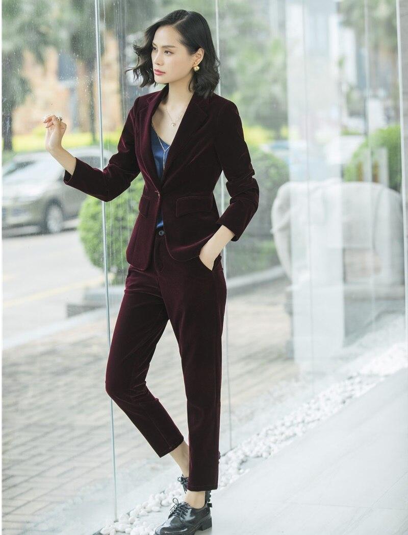 Blazer automne Costumes Pleuche Dames Veste D'affaires Vêtements Haute Marine Avec Ensemble Qualité Noir marron Hiver Femmes Pantalon Et Bleu marine Femelle 5wtqYZ8