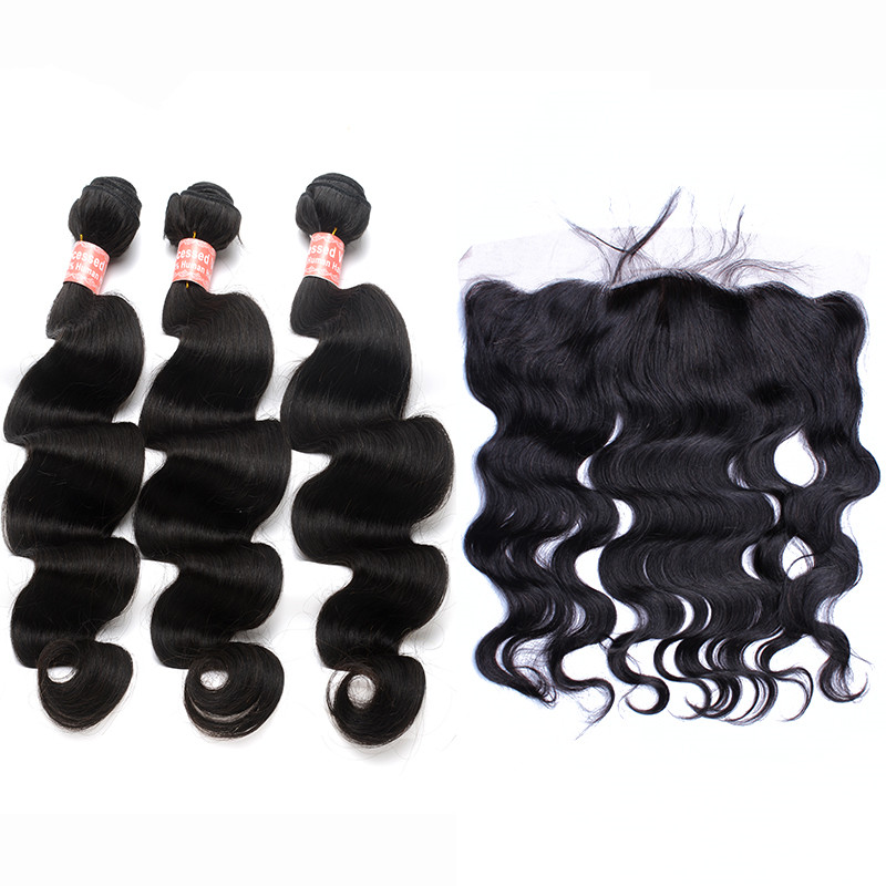 Body Wave Brazilian Human Hair Weave Bundles With Closure 13x4 Pre Plucked Lace Frontal Closure With Bundles Remy You May