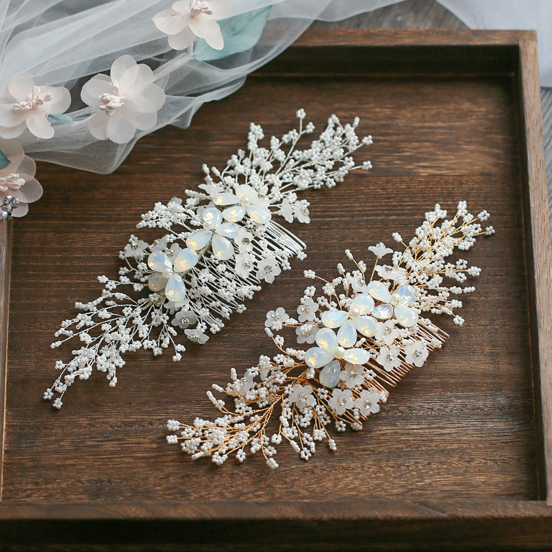 Jonnafe Gold Silver Floral Hair Comb For Bride Tiny Beaded Wedding Hair Jewelry Accessories Hand wired Bridal Headpiece-in Hair Jewelry from Jewelry & Accessories on Aliexpress.com | Alibaba Group
