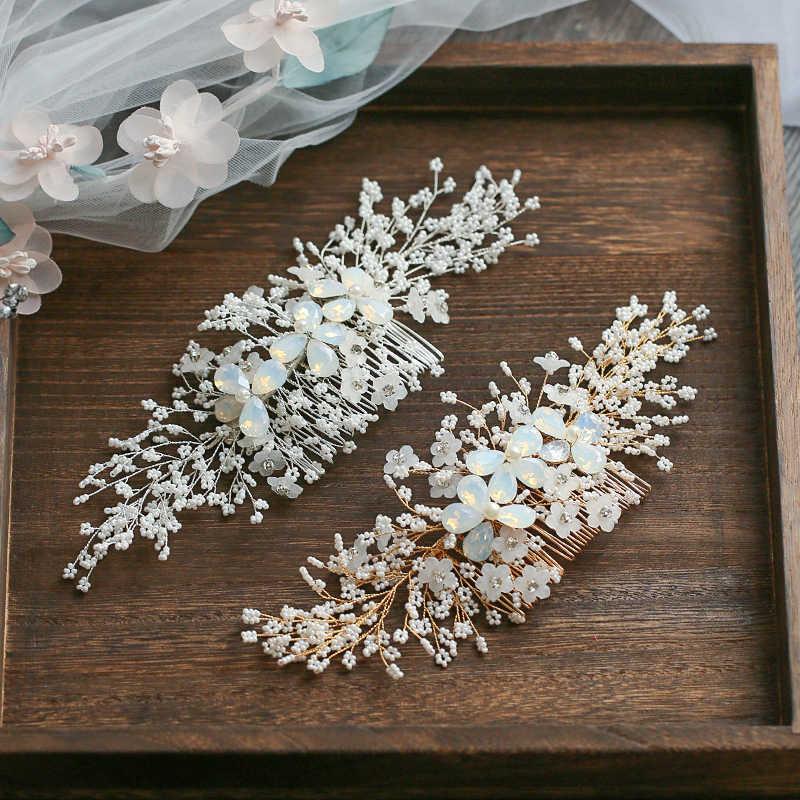43091993d797 Jonnafe Золотой Серебряный расческа для волос для невесты Крошечные Бисером  ...