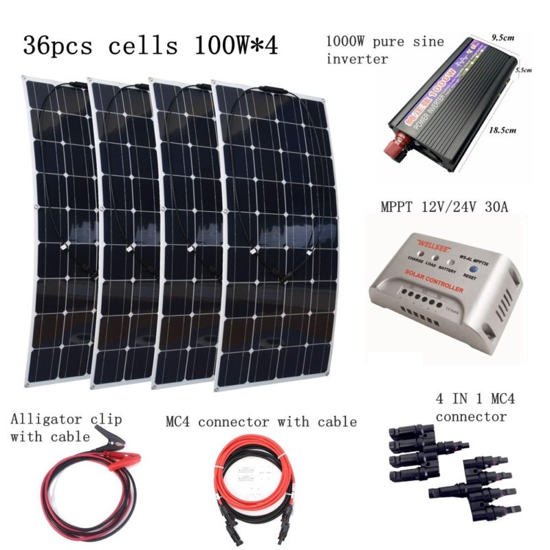 4pcs 100W Flexible Solar Panel Module with 1000W inverter and 30A controller Houseuse 400W Solar Power System 100W Solar Charger dc house usa uk stock 300w off grid solar system kits new 100w solar module 12v home 20a controller 1000w inverter