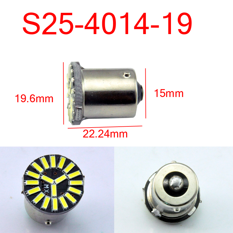 AutoEC 10x S25 1156 Ba15s 19SMD 4014 LED Car Car Auto Parking - Ավտոմեքենայի լույսեր - Լուսանկար 2