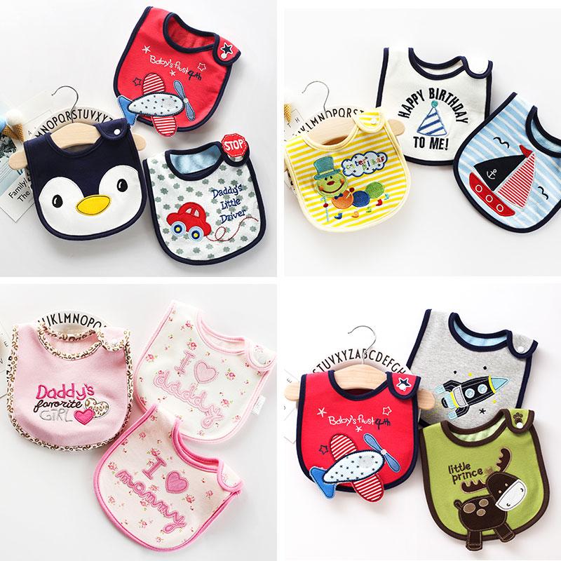 Baby Bib Cotton Waterproof Towel Cartoon Newborn Baby Boy Embroidered Anti-vomiting Bandana Accessories 3 Pieces Breastplate
