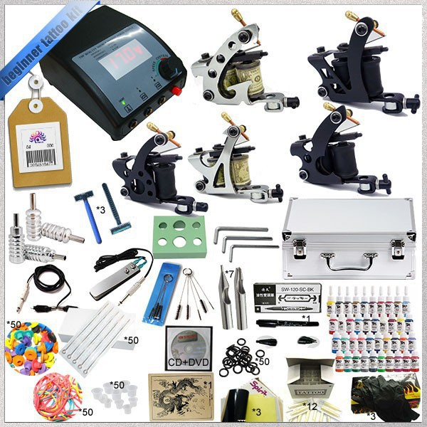 Professional Complete Tattoo Kit 5 Guns Rotary Machine Equipment sets +Ink +Power Supply +Needle + CD for Beginners Body Art #T professional 1 sets tattoo ink kits 2 gun complete machine teaching cd pigment needles for beginners body art beauty tools f