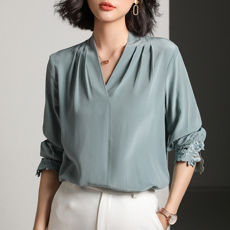 High Quality Pure Silk Shirt Stand Collar 100 Mulberry Silk Top Women Green White Pink Beige
