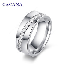 CACANA Titanium Stainless Steel Rings For Women Slash A Line Of CZ Fashion Jewelry Wholesale NO.R68(China)