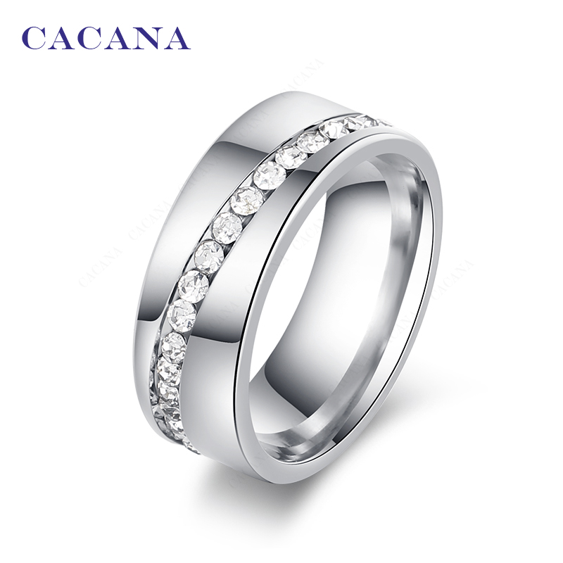 CACANA Titanium Stainless Steel Rings For Women Slash A Line Of CZ  Fashion Jewelry Wholesale NO.R68