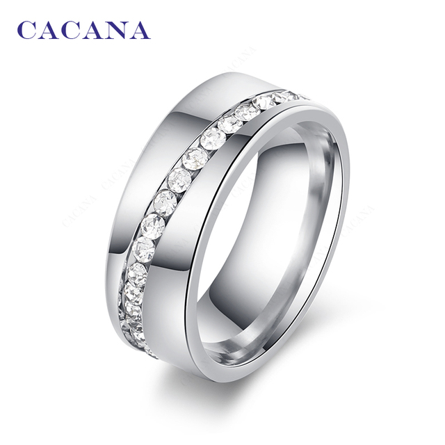 CACANA Titanium Stainless Steel Rings For Women Slash A Line Of CZ Fashion Jewel