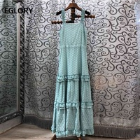Strap Long Dress 2019 Summer High Quality Women Allover Exquisite Embroidery Vintage Cotton Long Maxi Dress Ladies Club Wear