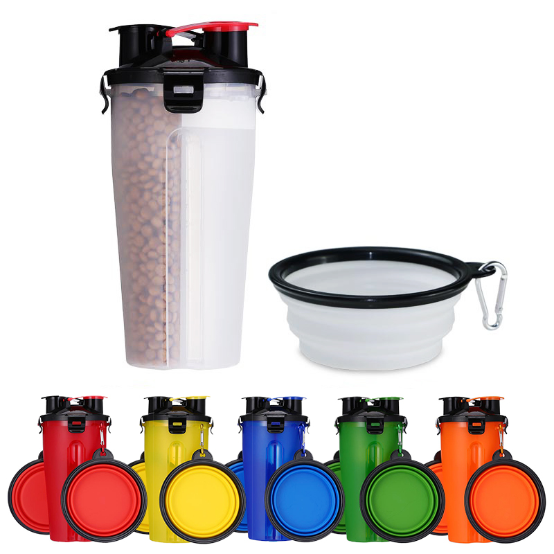 Portable 2 in 1 font b Pet b font Food Water Food Container with Folding Silicone