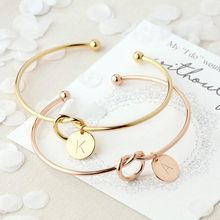 Fashion Letter Charming Bracelet Women Girl Rose Gold/Silver Alloy Lucky Chain Friendship Bracelets Lovers Gift Jewelry(China)