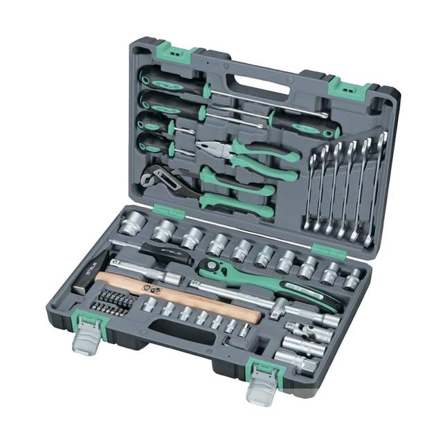 Набор инструментов STELS 14113 (58 предметов, универсальный набор, хром-ванадиевая сталь и сталь S2, кейс)