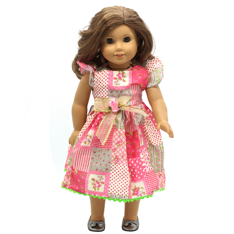Doll Accessories American Girl Doll Clothes Multicolor Flowers Lace Bow Dress for 16-18 inch Dolls Girl Gift X-7 drop shipping