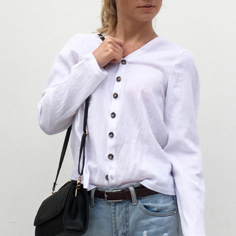 V-Neck Button Sun Protection Cotton Breathable White Color Long Sleeves T-shirts For Women Solid Simple Casual Summer Top Female