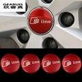 Стайлинга автомобилей Новый дизайн Нержавеющая сталь Ступицы Покрытие Автомобиля Sline логотип Эмблема Chrome Центра Колеса Центр Cap эмблема Для Audi A4 2017