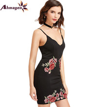 Sexy Club Dresses Floral Bodycon Dress Deep V Neck Black Embroidered Rose Backless Spaghetti Strap Cami Mini Dress