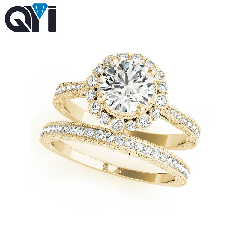QYI Jewelry 925 Sterling Silver Ring set with Clear Cubic Zirconia Anniversary Jewelry for Women Engagement Ring Sets