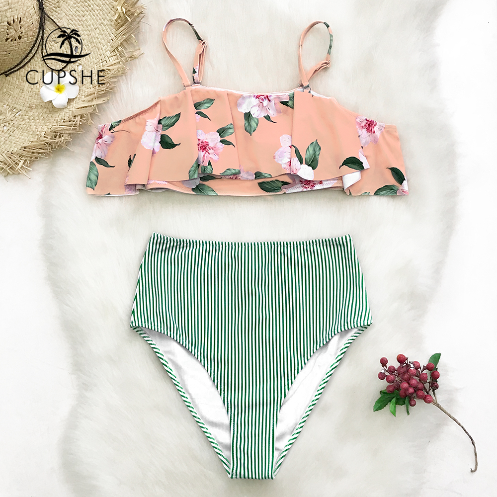 1964fc183a87a CUPSHE Pink Floral Print And Green Striped Ruffle Bikini Sets Women High  Waist Two Pieces Swimsuits 2019 Girl Boho Bathing Suits