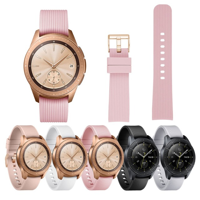 20mm Silicone Band for Samsung Galaxy Watch Rose Gold Buckle Rubber Replacement