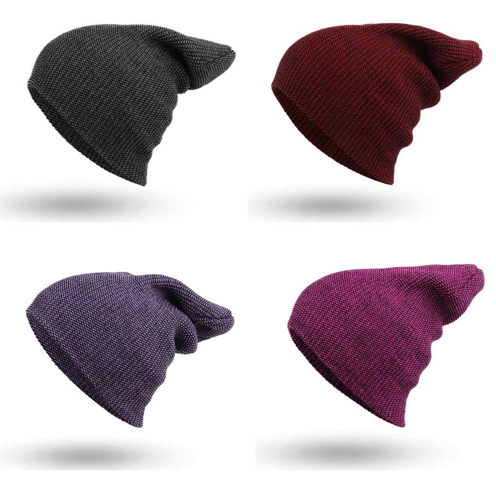 Warm Soft Knitted For Women/Men Purple Red Fine Stripes Knitting Caps Hats Winter Autumn
