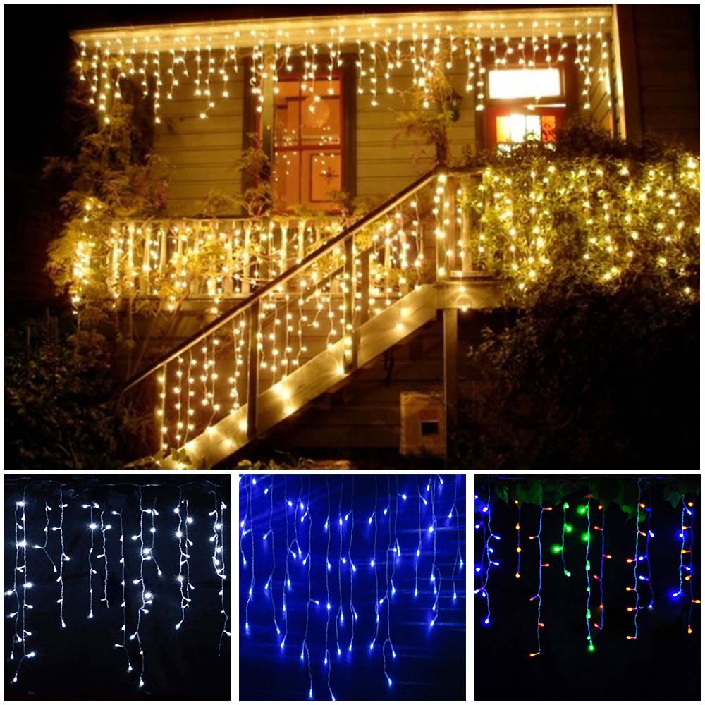 3-24M LED Curtain Icicle String Fairy Light LED Christmas Garland Indoor Outdoor Party Garden Stage Decorative Lights 110V 220V