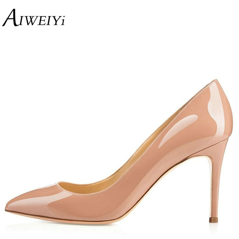 AIWEIYi Women Pumps Patent Leather Stiletto High Heels 8CM Pointed Toe Slip On Ladies Party Wedding Shoes Thin High Heels Shoes odetina women sexy stiletto pointed toe high heels ladies party shoes slip on patent leather pumps flower printing big size 43