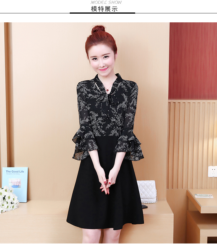 L-5XL Plus Size Women Floral Print Dress Summer 2019 Korean Bow V-neck Ruffle Flare Sleeve Chiffon Patchwork A-Line Dresses 7