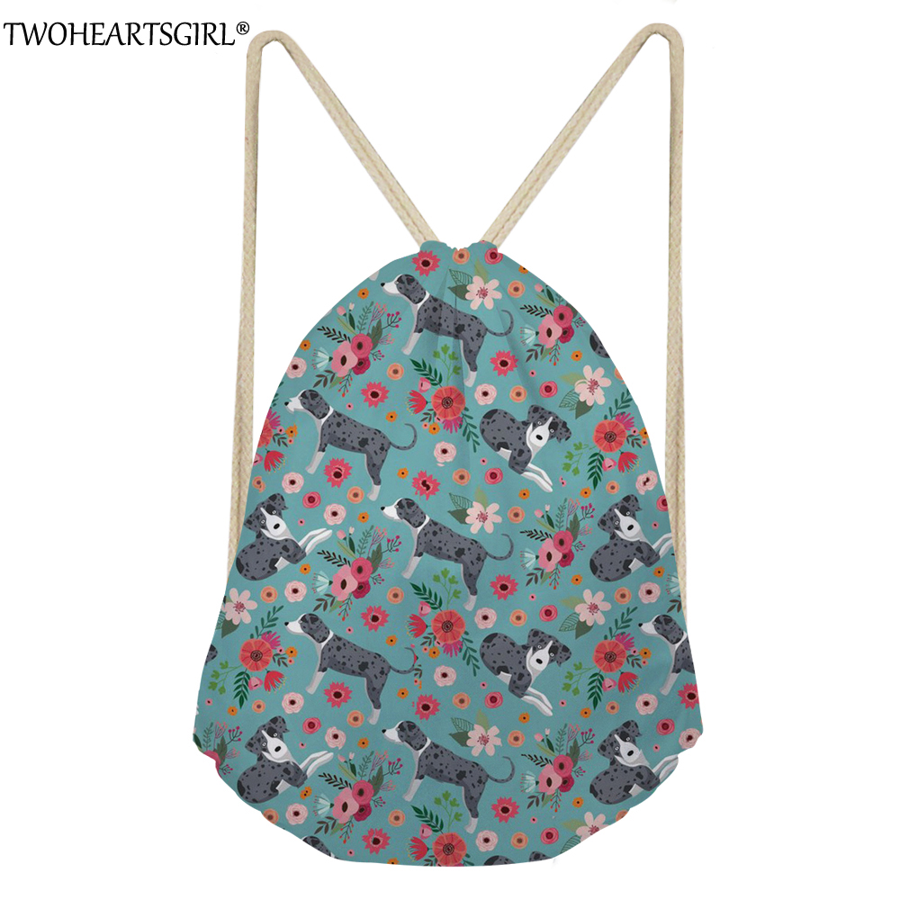 TWOHEARTSGIRL 3D Catahoula Prints Drawstring Bag For Women School Girls Small Drawstring Bag Cute Animal Shoulder Bag For Travel