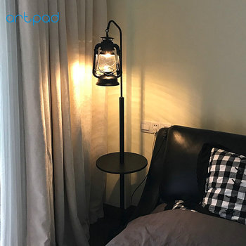 Kerosin Lampe Retro Vintage Schwarz Boden Lampe Mit Tisch E27 Stehend Licht Für Wohnzimmer Boden LED Schlafzimmer Studie Glanz