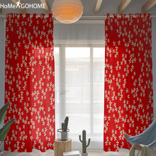 Red Floral Decoration 3D Tulle Curtains for Bedroom with Print Boho Decor Sheer Living Room Modern