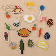 1 stks Ei Blad Pruim Cupcake Citroen geborduurde ijzer op cartoon patches doek accessoires tas hoed reparatie Applicaties telefoon decor diy(China)