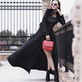 Black Solid Single Button Elegant Long Trench Coat Dress Girls Slim Plus Size Coat Autumn Spring 2016 With Pockets