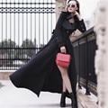 Sólido preto Único Botão Elegante Longo Vestido Trench Coat Meninas Magro Plus Size Casaco de Outono Primavera 2016 Com Bolsos