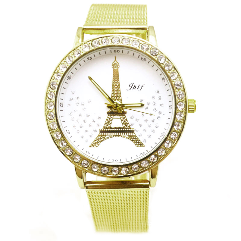 Hot New fashion Women Ladies Crystal Tower Gold Stainless Steel Mesh Band Wrist Watch for women Clock Jack
